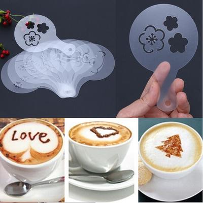 16 Cappuccino Coffee Decorating Stencil Shapes Mold Latte Art Barista Tool Kit