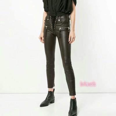 4d40a8498 QLZW autumn European women clothes fashion legging pants badage zippers  high waist female PU pencil