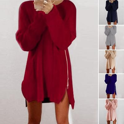 d0d1d7bdaa0 Fashion Loose Above Knee Polyester Plain Knitted Zipper Women s Sweater  Dresses