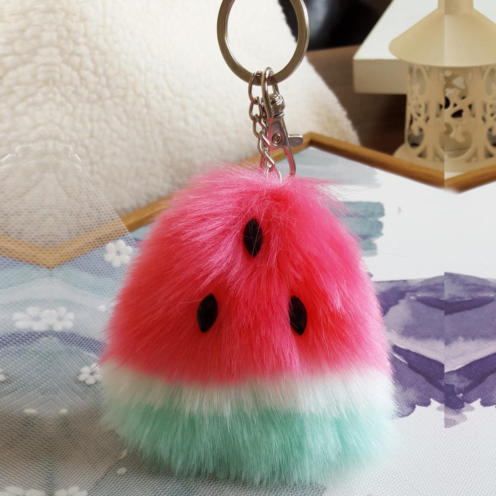 Avocado Fruit Pom Ball Plush Doll Toy Pendant Keychain Tote Handbag Decoration