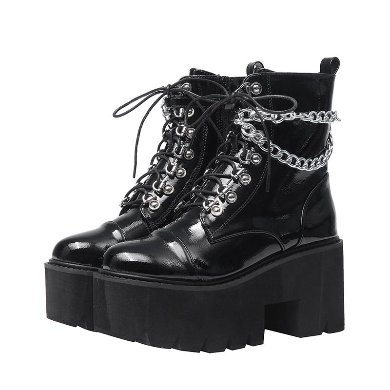 Women Patent Leather Combat Lace Up Round Toe Block Heels Ankle Boots Punk Shoes