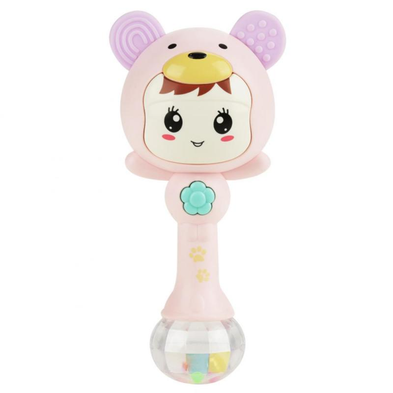 0-2T Infant Baby Music Light Cartoon Bear Shaking Rattles Hand Bells Toys Puzzle