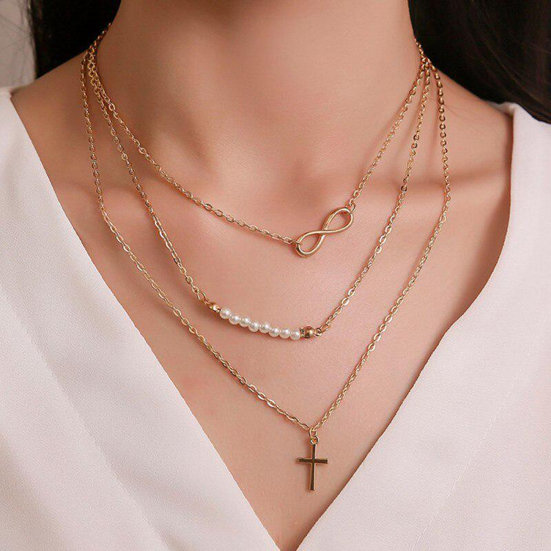 Gold Charm Necklace Pearl /& Cross Charm Necklace Dangle Charm Necklace Boho Chic