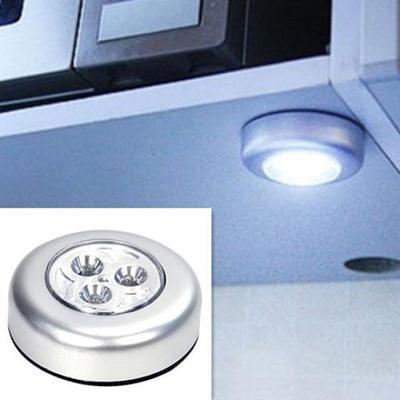 Mini Useful Wall Light Kitchen Cabinet Closet Car 3 LED Wireless Push Touch  Lamp
