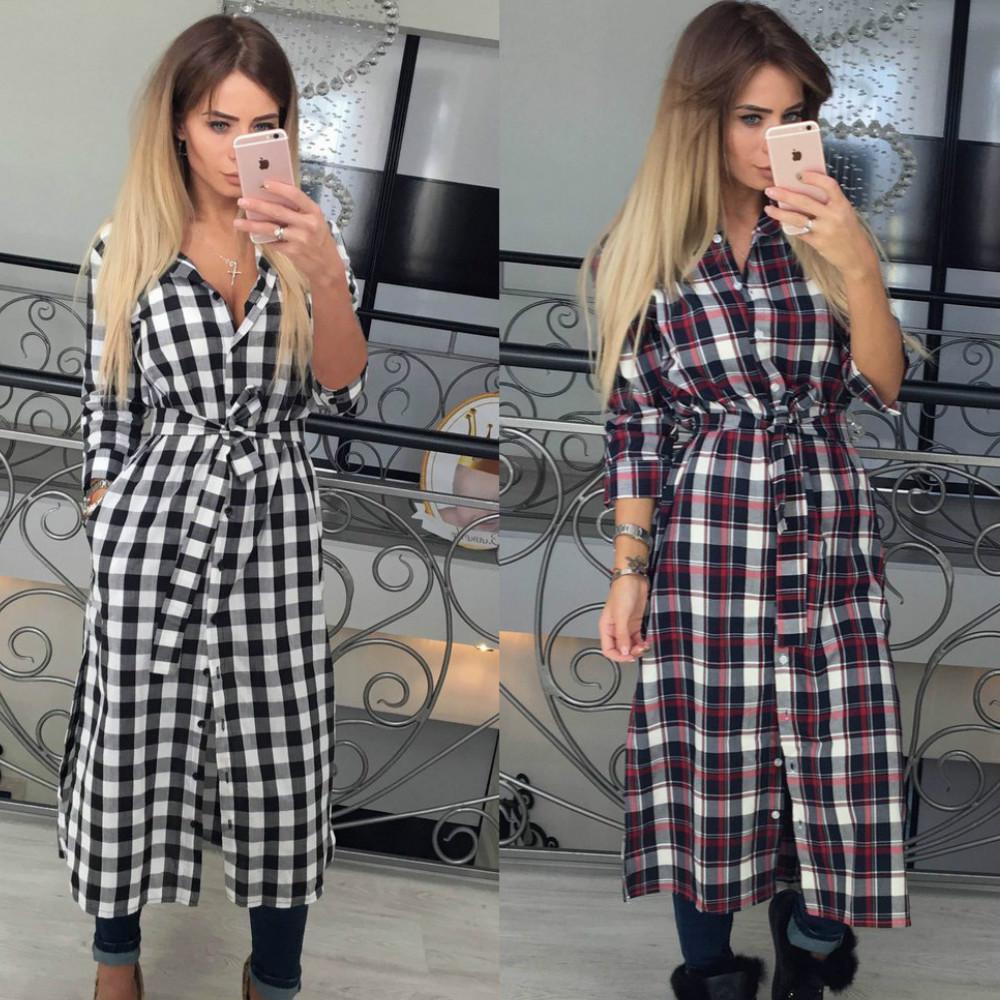 俄罗斯女装 亚马逊爆款欧美秋冬女士长袖格子衬衫 大码女装FC074