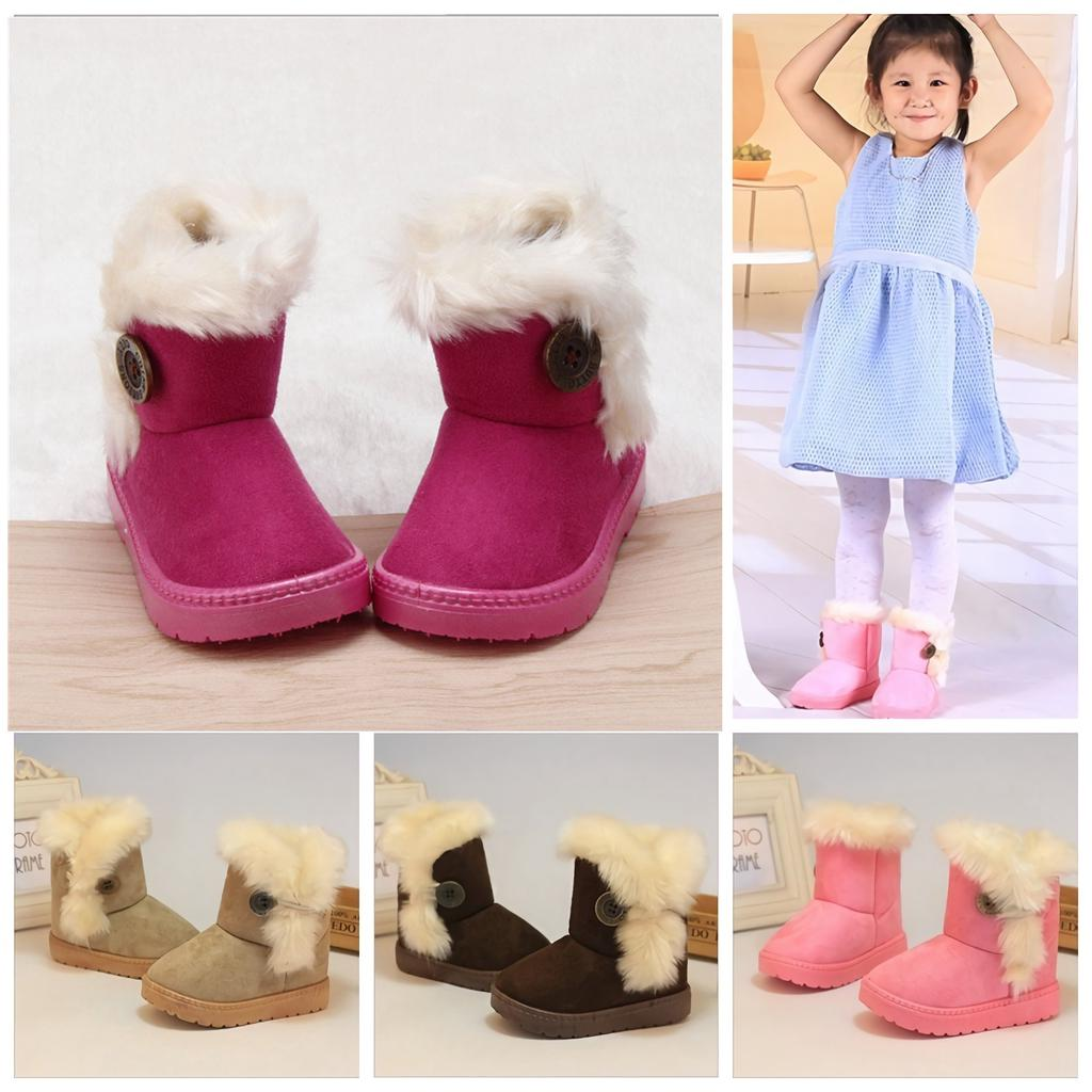 Hot Cute Kids Boys Girls Cartoon Snow Ankle Boots Baby Waterproof Fur Warm Shoes