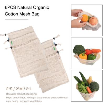 Natural Cotton Mesh Bags Grocery Fruit Vegetable Shopping Storage Reusable Bags
