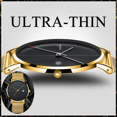 Mens Fashion Ultra-thin Stainless Steel Watch Sports and Leisure Quartz Watch