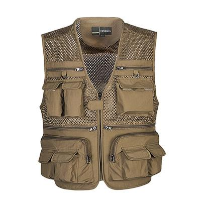 Color : Brown, Size : M Pocket vest Cotton Spring and Autumn Mens Sports and Leisure Multi