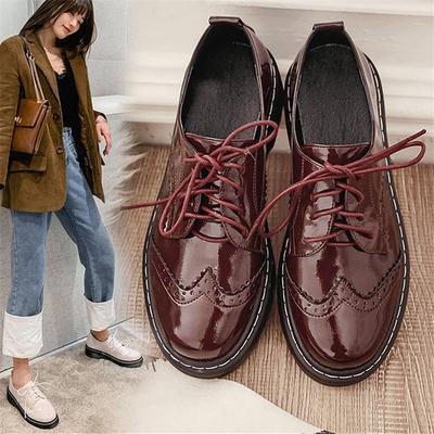 LALA IKAI Vintage Oxford Shoes for Women Brogues Shoes Lace