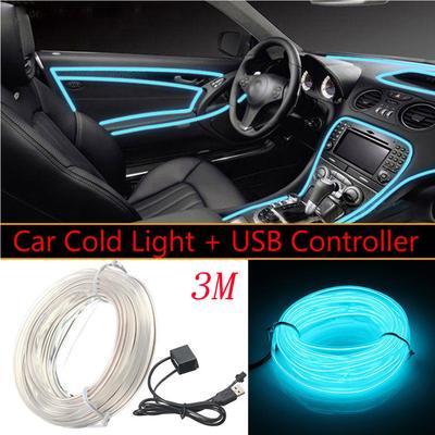 5v Usb Transparent Blue Led Light Glow El Wire String Strip Dekoracja Wnętrza Samochodu