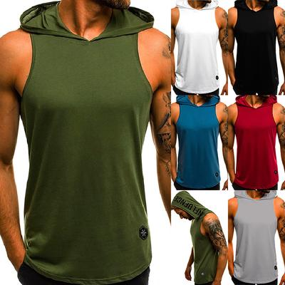 2682ef8af8 Summer Men Hooded Sleeveless Vest Casual fit Slim Breathable Sports Fitness  Bodybuilding Tank Top