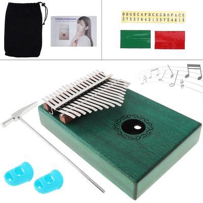 503c626e0f2758 17 Key Green Kalimba Single Board Mahoniowy Thumb Fortepian Mbira Mini  Keyboard Instrument