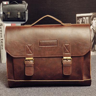 Men PU Leather Casual Handbag Shoulder Bags Vintage Handbags Fashion Tote Laptop handbags Briefcases