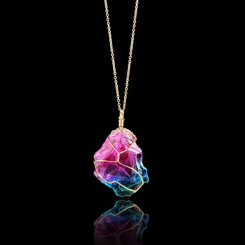 Mode Frauen Regenbogen Stein Chakra Rock Druzy Quarz Anhänger Halskette Geschenk 1PC