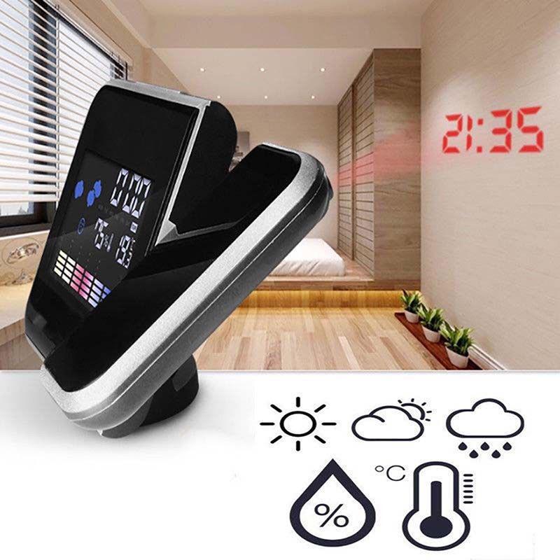 LCD Digital LED Projector Projection Alarm Clock Weather Station Calendar BIN OP