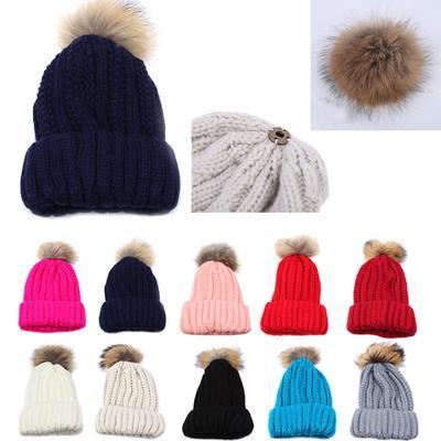 New Women Crochet Wool Knit Beanie Beret Ski Ball Cap Baggy Winter Warm Hat f70804857ef0