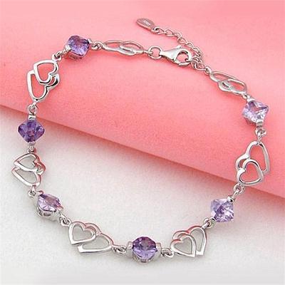 Fashion Double Heart Bangle Bracelet Purple Cubic Zirconia Elegant Chain Silver Plated