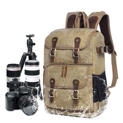 Outdoor Waterproof Photography Dslr Camera Backpack Wax Dye Canvas Video Digital Photo Bag Case,Green