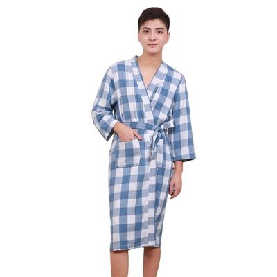 6159445d53 1piece Men s Bathrobes Soft Robes Pure Cotton Nightwears Medium Lace-up  Male Long Grid Sleepwears