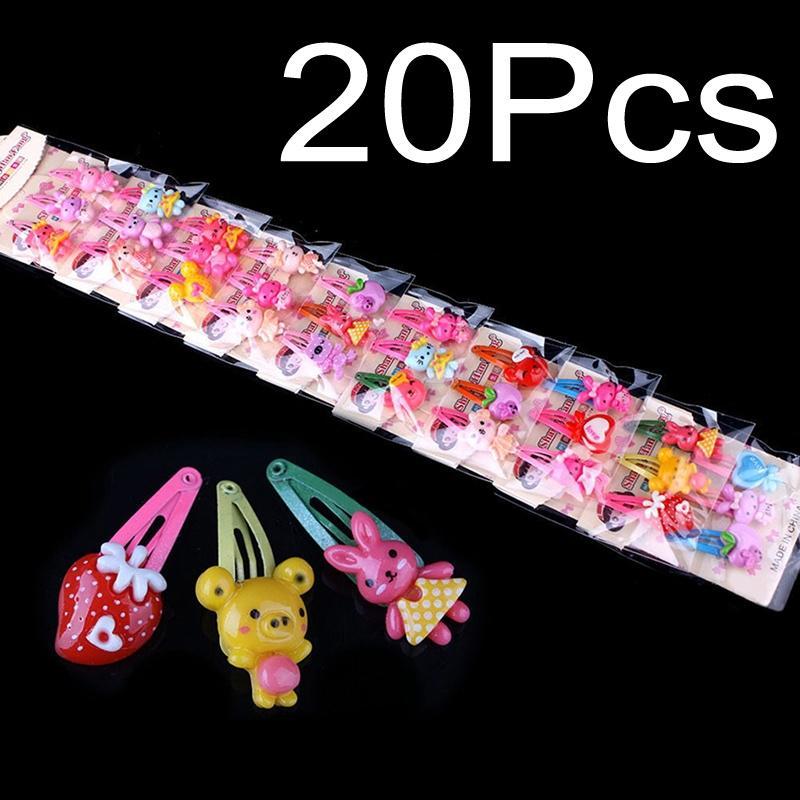 20pcs//Set Girls Hairpin Mixed Assorted Baby Kid Children Cartoon Hair Pin Clips.