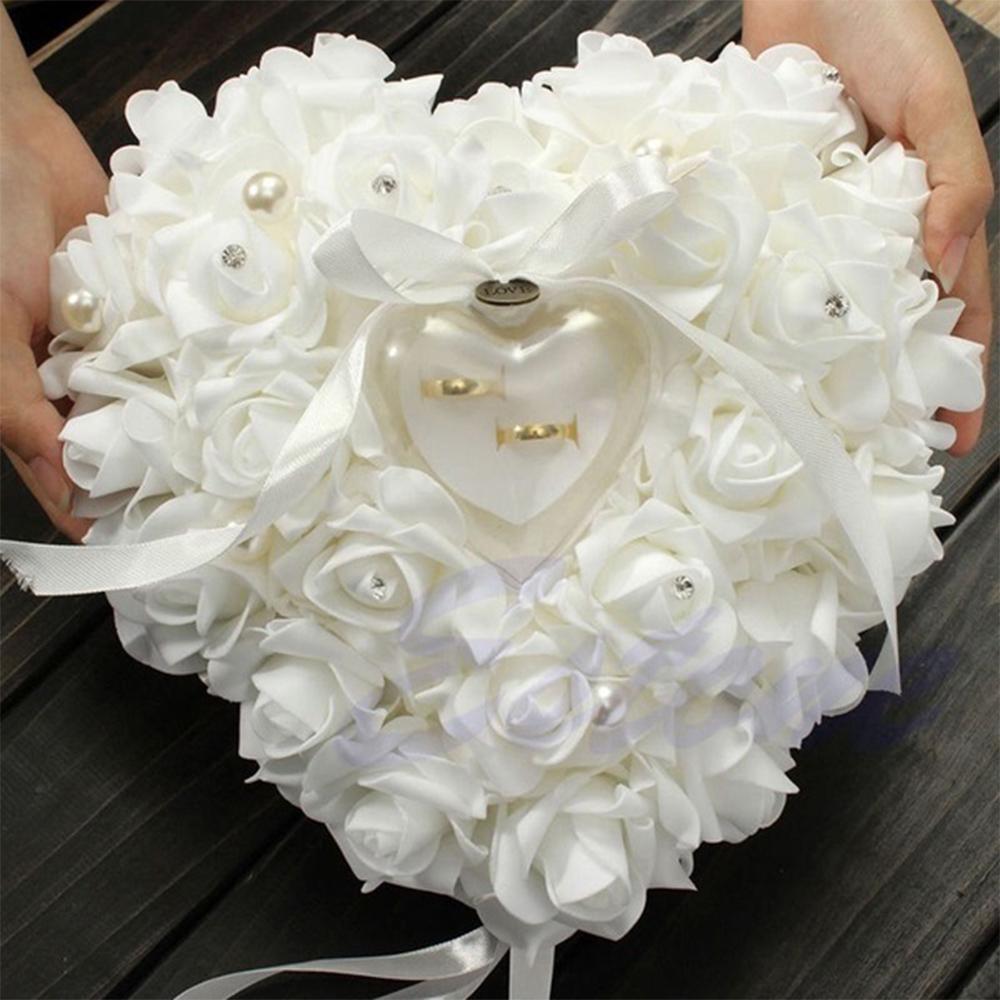 珍珠戒枕亚马逊PE泡沫玫瑰花戒托心形蛋糕戒指盒子 婚庆用品批发