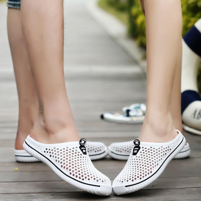 厂家批发夏款情侣糖果色洞洞鞋透气半托沙滩鞋凉鞋男大码一件代发