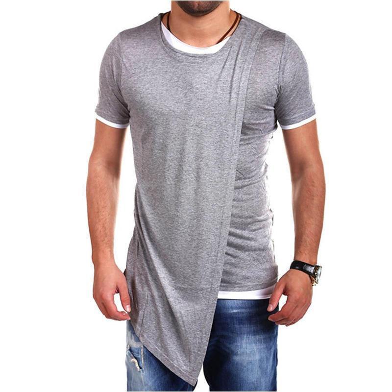 男士修身假两件拼色圆领短袖T恤青少年短袖