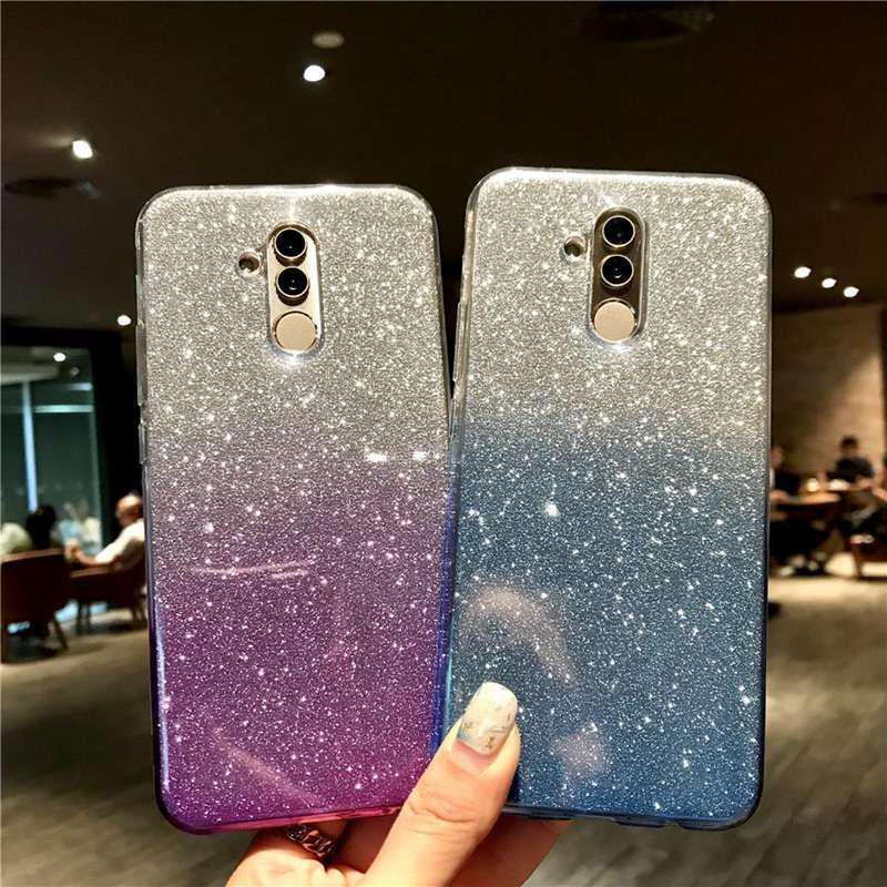 2 слой Bling Shinning блеск мягкие силиконовые градиент цвета телефона чехол для iPhone Samsung Huawei фото