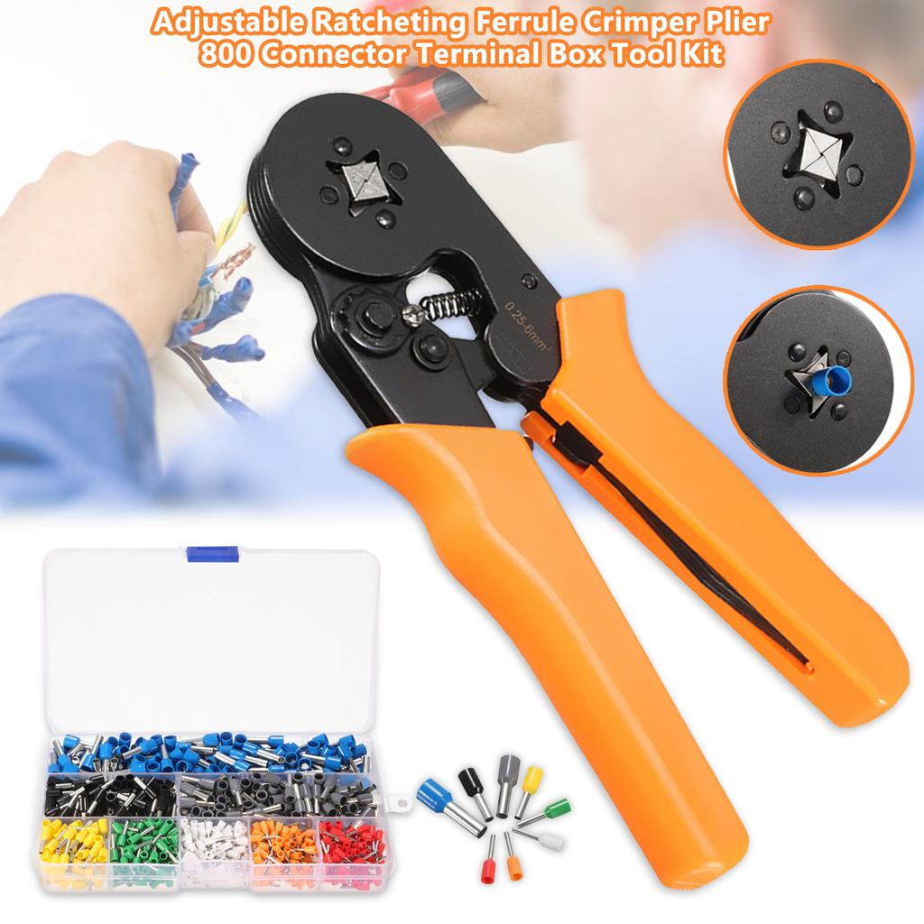 Adjustable Ratcheting Ferrule Crimper Plier Tool 800 Connector Terminal Kit