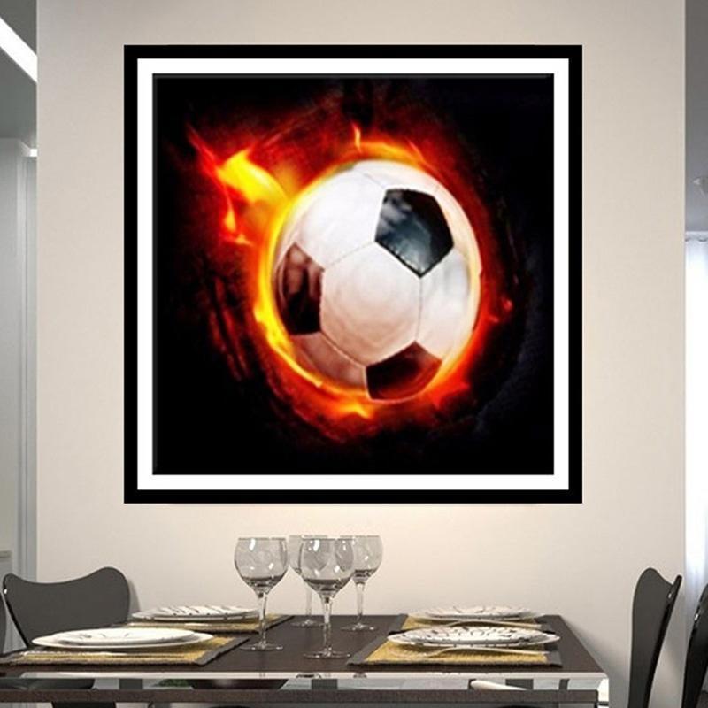 5D DIY Diamond Malerei Stickerei Fußball Feuer Cross Stitch Fußball ...