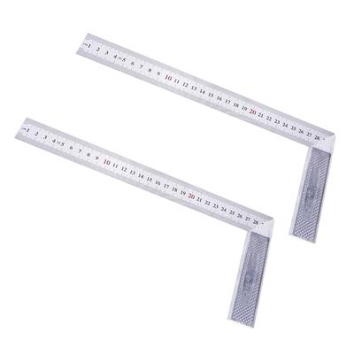 2Pc L Square Stainless Steel 90 Deg Angle Ruler Measurement Tool Woodworking