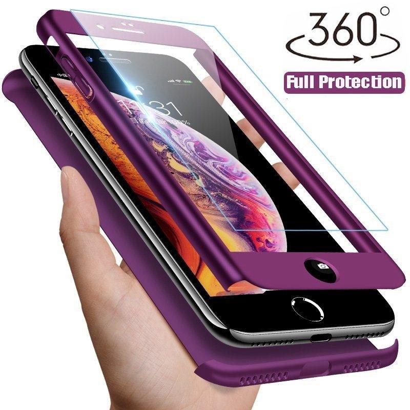 360 градусов защитные телефон дела закаленное стекло фильм протектор экрана для iPhone Samsung Huawei