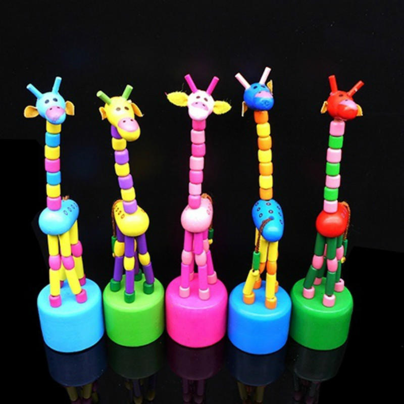 New Intelligence Toy Dancing Stand Colorful Rocking Giraffe Wooden Toy for kids