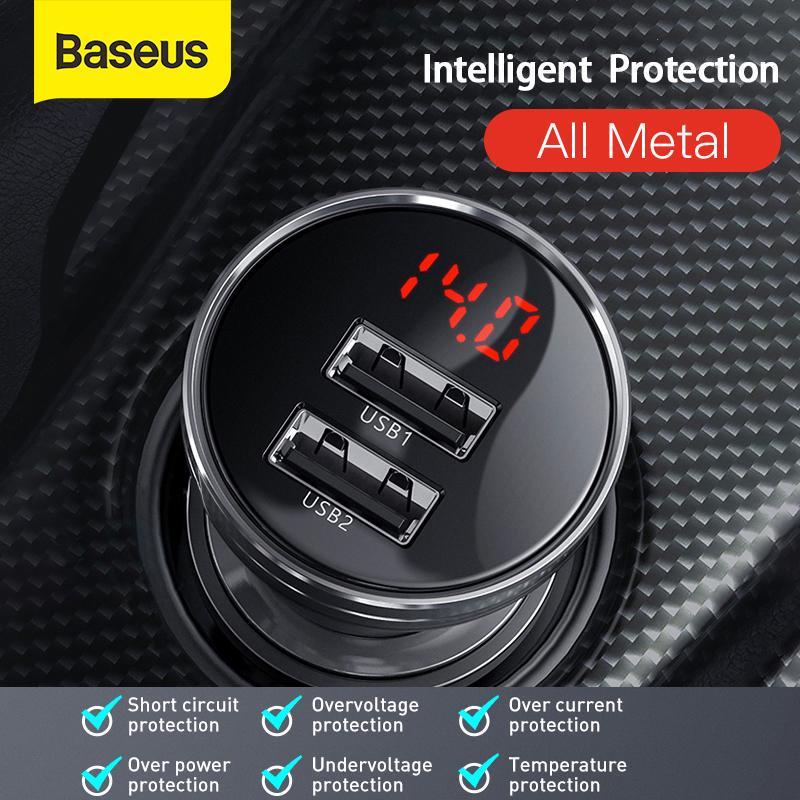 Baseus Двойной USB светодиодный автомобиль зарядное устройство для iPhone 11 Samsung Телефон Зарядное устройство для Huawei Xiaomi Тип C автомобильный зарядное устройство фото