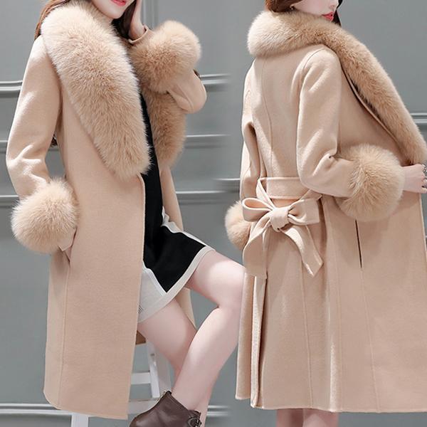 Зимние теплые женщины Искусственное шерстяное пальто Длинные Slim-Fit пальто Теплый и элегантный плащ с съемным меховым воротником – купить по низким ценам в интернет-магазине Joom