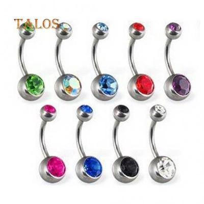 10 Pcs Belly Button Bars Navel Bar Rings Crystal Gem Balls Surgical Steel