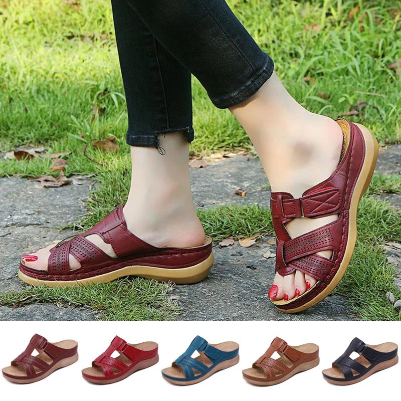 Women Leather Shoes Leather Summer Shoes Woman Summer Vintage Wedge Sandals
