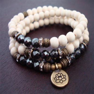 8 Mm Blanc Jade Amethyst Bracelet Unisexe Bracelet Reiki méditation Manchette Sutra Lucky