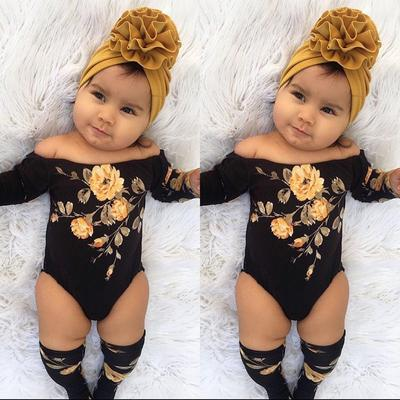 3PCS Newborn Baby Girl Floral Off Shoulder Flower Romper Leg Warmers Outfits