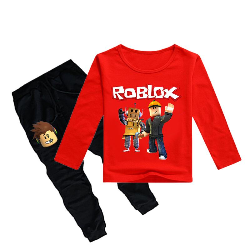 2PCS Printemps et Automne Enfants Garçons Filles ROBLOX à Manches Longues Sweat Costume