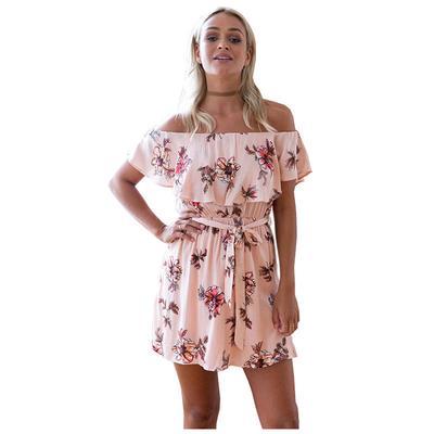 Boho женщин от пляжа плечо печать-слэш шеи короткий рукав Цветочный  мини-платье 448186969fd