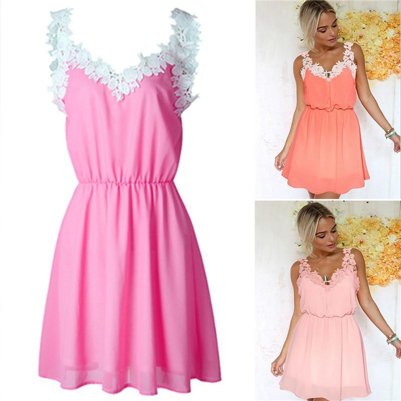 Mujeres moda verano de encaje sin mangas de ganchillo Mini vestido ...