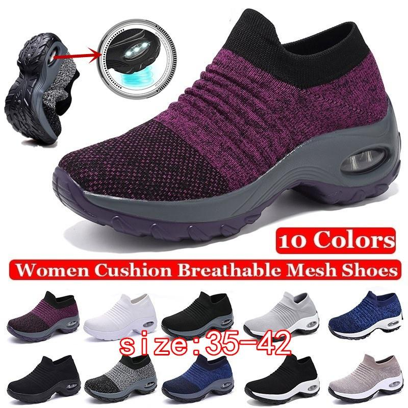 happyselle Womens Sneakers Wedge Ladies Running Shoes Breathable Mesh Sports Shoes