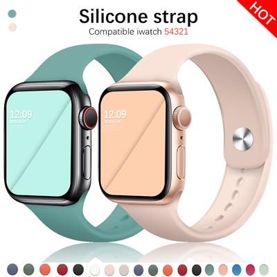Soft Sports Watch Silicone Band Watch for Apple 4 3 2 1 38 MM 42 MM Breathable Bracelet for Iwatch Series 5 6 SE 40mm 44mm Strap