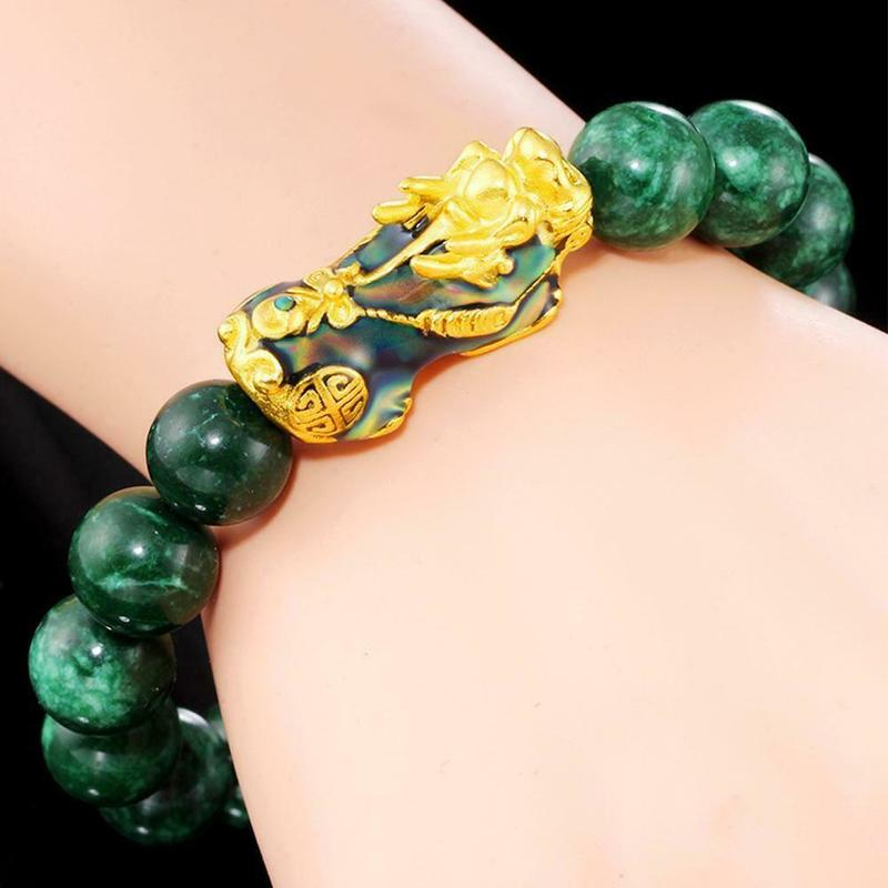 Beautiful Emerald Green Jade Bracelet Gold Links and Pixiu Bracelet Wealth Good Fortune Feng Shui Protector Gift for her Mother/'s Day