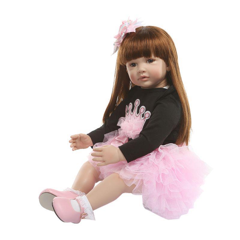 60cm Reborn Soft Silicone Vinyl Doll Lifelike Baby with Long Hair Xmas Gift Doll