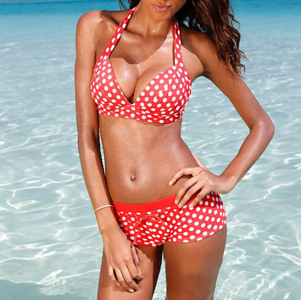 2Pcs Lady Push Up Crop Top Strappy Bikini Bra Boyshorts Swim Pool Beach Swimsuit