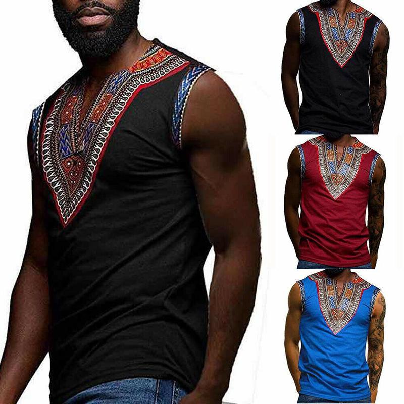 INCERUN Summer Men Sleeveless Tank V-Neck Muscle Stretch Gym Top Shirt S-2XL