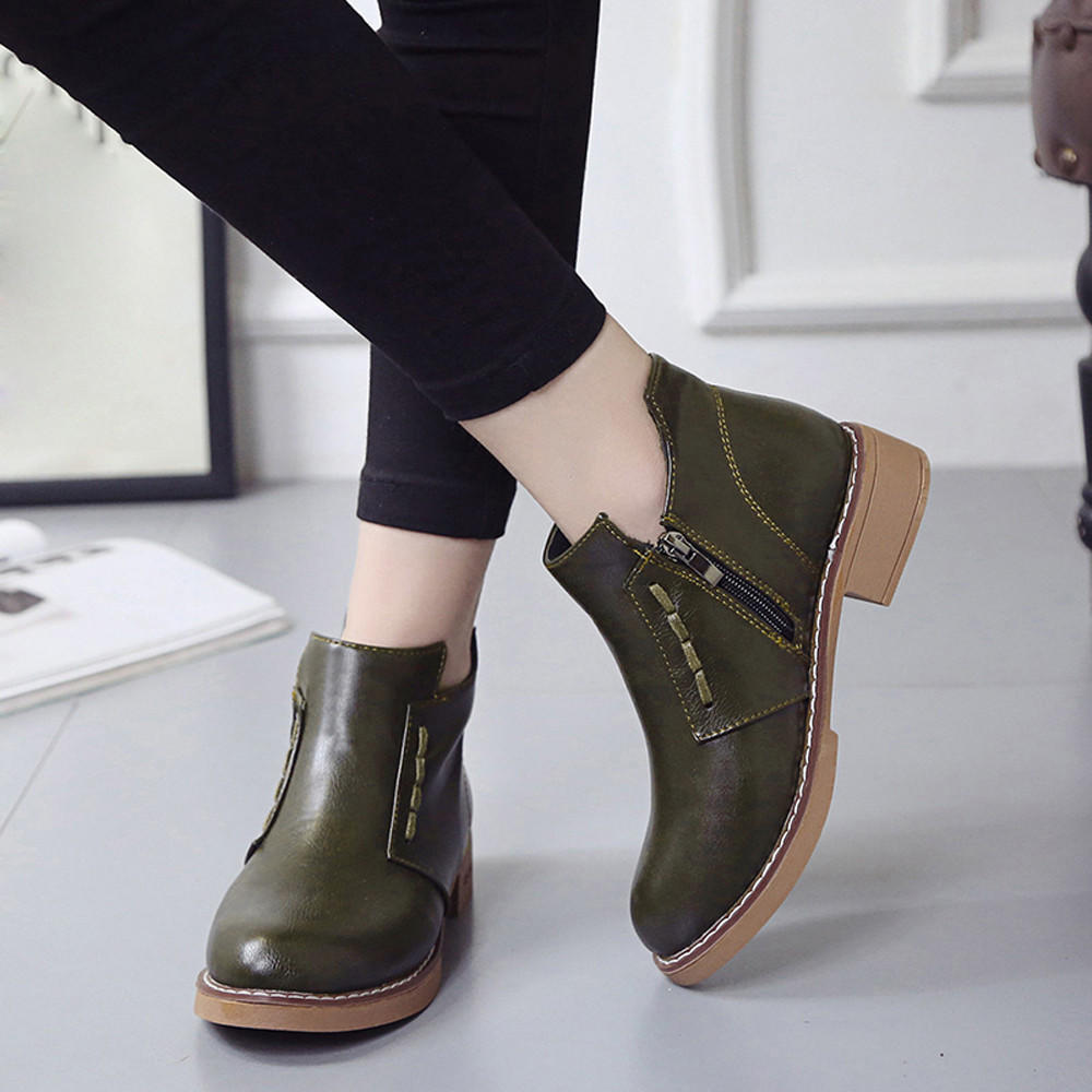 zapatos deportivos c768f c0f60 Single Short Boots Women British Martin Boots Lace-Up Women Boots Shoes